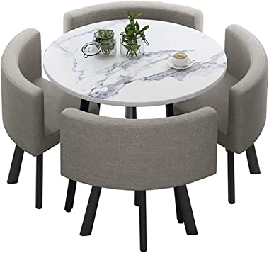 """QLJJSD Dining Table Set 35.4"""" Round Wooden Small Dining Table Set 4 Upholstered Chairs for Small Spaces Kitchen Table and"""