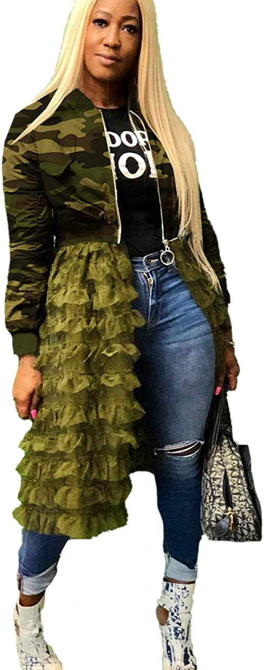 MONASAMA Women's Fashion Bomber Jacket Patchwork Zip up Open Front Ruffle Sheer Mesh Cardigan Midi Dress