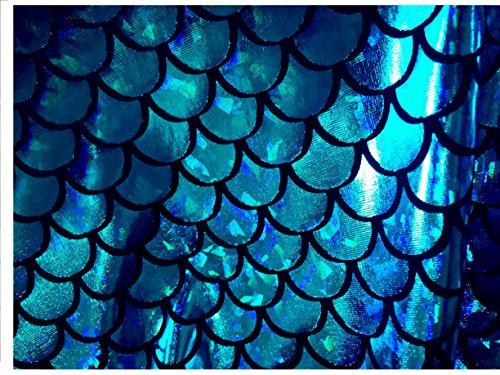 "Mermaid Hologram Fish Scale Stretch Spandex Fabric 58""/60"" Wide (Purple Scale, 1 Yard)"
