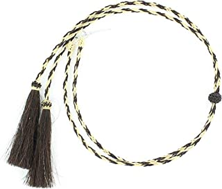 M & F Western Men's Blonde and Braided Horsehair Tassels Stampede String