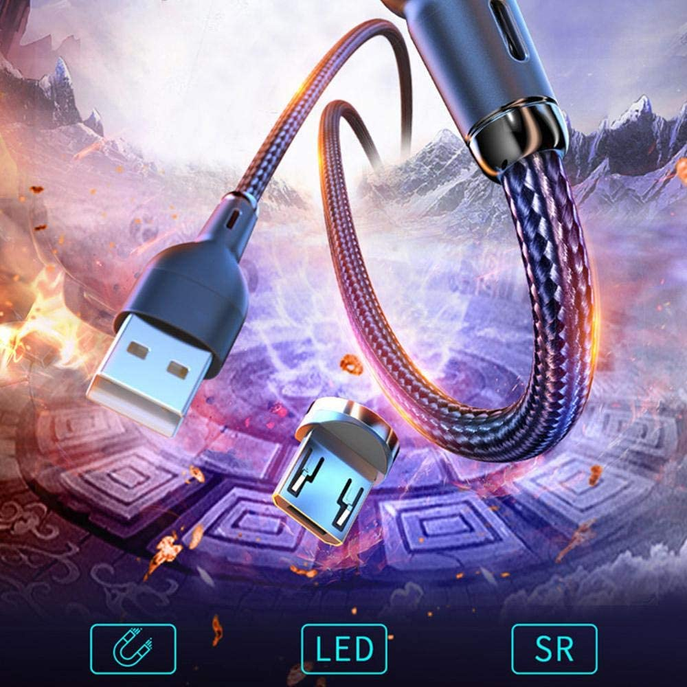 Phoneix Magnetic Micro USB Cable Fast Charging Magnet USB Mobile Phone Nylon Cable Charging Wire Cord with LED Indicator Silver
