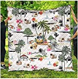 Pekingese Quilt Blanket Dog Hawaii Beach Retro All Season Quilts Comforters Super King-Queen-Twin Size - Best Decorative Quilts Unique Quilted for Gwenn