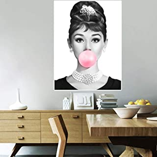 Audrey Hepburn Bulle Figure Portrait Toile Peinture Imprime Affiches Mur Photos pour Salon Mur Art décor à la Maison 42x62...