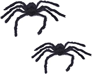 OCEDECOR Halloween Fake Giant Spider Large Black Soft Hairy Spider Props for Halloween Outdoor Yard & Indoor Decoration (1PCS(2.95ft)+1PCS(2.46ft))