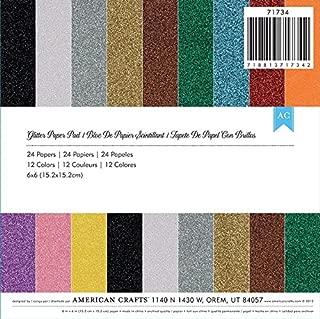 American Crafts 6 x 6 Glitter Paper Pad 24 Sheets