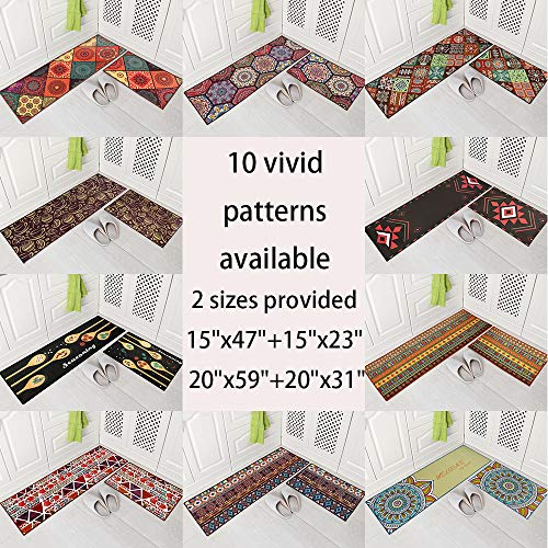 Carvapet 2 Pieces Non-Slip Kitchen Mat Runner Rug Set Doormat Vintage Design Boho Style,Square (15