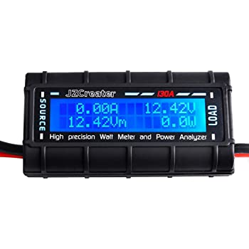 Power Analyzer - JZCreater Watt Meter Power Analyzer, High Precision RC with Digital LCD Screen for voltage (V) current (A) Power (W) Charge(Ah) and Energy (Wh) Measurement 130Amps
