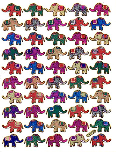 Elefanten Tiere bunt Aufkleber 50-teilig 1 Blatt 135 mm x 100 mm Sticker Basteln Kinder Party Metallic-Look