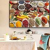sanzangtang Pintura sin Marco Especia Cuchara de Cereal Chile Cocina Lienzo Pintura póster e impresión Restaurante Pared arteCGQ5017 20X30cm
