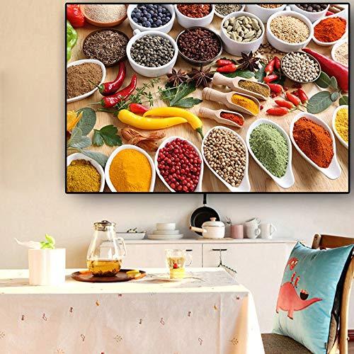 sanzangtang Rahmenlose Malerei Gewürz Müslilöffel Chili Küche Leinwand Malerei Esszimmer Wandkunst Essen Wohnzimmer DekorationZGQ4509 50X70cm