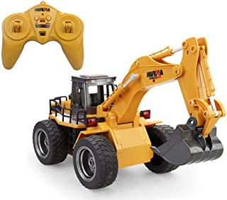 AlNajam RC Truck Remote Control Bull Dozer 2.4Ghz Radio Control Construction Vehicle Metal Alloy 6 Channel 4 Wheel Loader Remote Control Simulation Truck