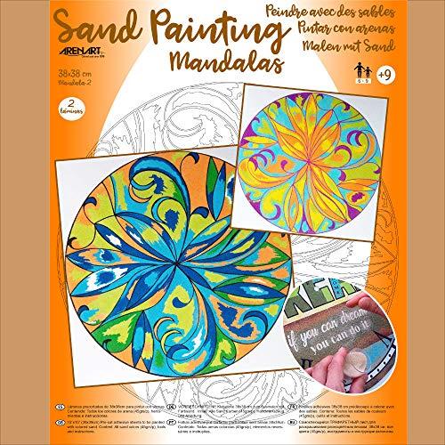 Arenart - Set Pintar con Arenas de Colores - Mandala 2 38x38 cm (2 láminas) Una Terapia para relajarte y Disfrutar de tu Momento.