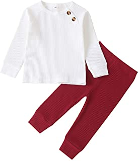 Fossen Kids, Fossen Conjunto Bebe Niña Otoño Tops de Punto + Pantalones Trajes 6 Meses - 3 años, Ropa Bebe Recien Nacido Niña Invierno