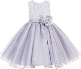 ekidsbridal Lace Organza Junior Flower Girl Dress Special Occasion Christening Dress 186F