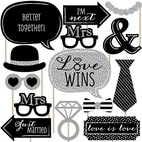 Big Dot of Happiness Mrs. & Mrs. - Silver - Lesbian Wedding LGBTQ Photo Booth Props Kit - 20 Count