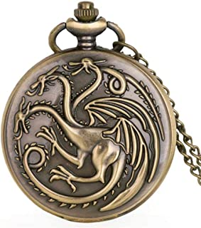 Pocket Watch With Chain Vintage Bronze Chinese Style Dragon Design Quartz Pocket Watch With Necklace Chain Best Gift Gray