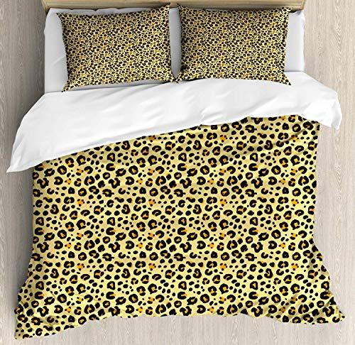 Juego de fundas nórdicas de color marrón amarillo, estampado de leopardo continuo con manchas de piel de animal, juego de cama decorativo de 3 piezas con 2 fundas de almohada, amarillo pastel y malva