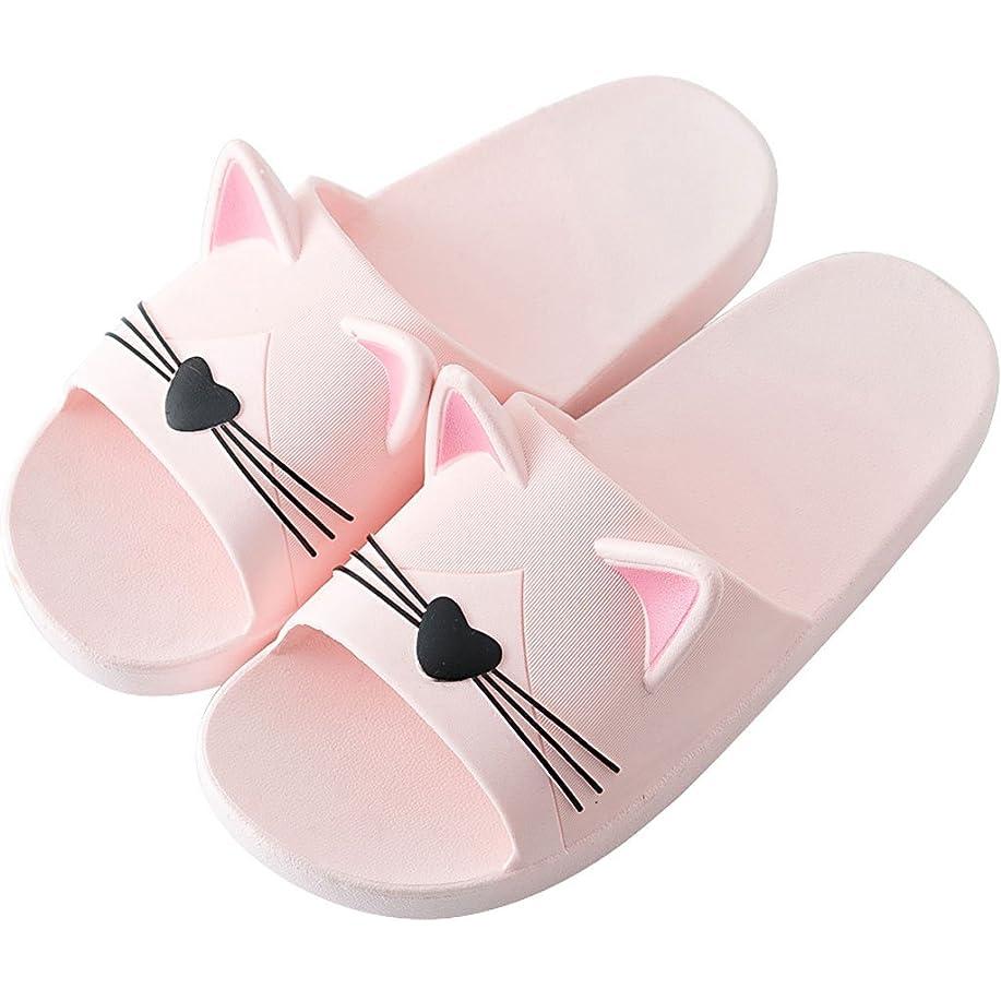 またはどちらか映画確認スリッパ 猫の耳のスリッパ女性の夏の屋内と屋外の滑りにくいかわいい韓国のバスルームのホームの柔らかい底のサンダル (色 : ピンク ぴんく, サイズ さいず : EU38/UK5.5/CN38)