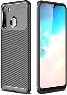 Galaxy A21 Case, Silicone Leather[Slim Thin] Flexible TPU Protective Case Shock Absorption Carbon Fiber Cover for Samsung ...