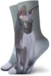 tyui7, Calcetines de compresión antideslizantes Cat Sphynx sin pelo Cosy Athletic 30cm Crew Calcetines para hombres, mujeres, niños