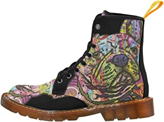 Artsadd Fashion Shoes Music Notes and Leaf Lace Up Boots for Women