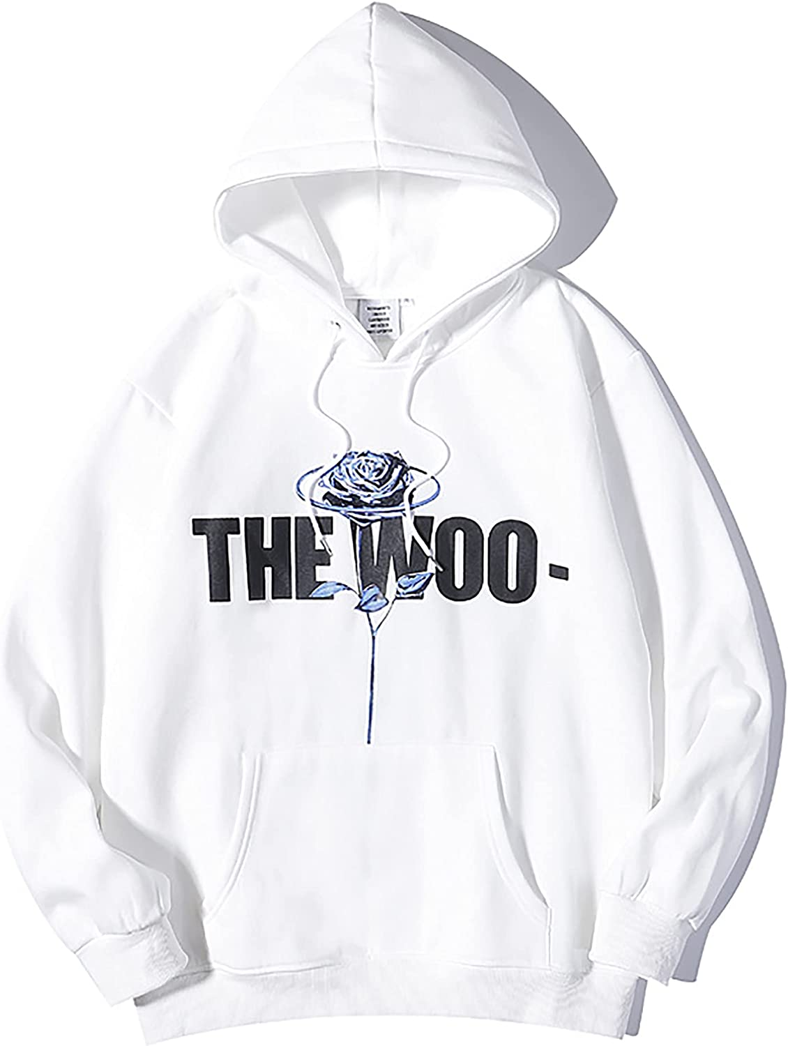 Vlone X The Woo Hoodie Big V Rose Letter Hip Hop Pullover Hooded Sweatshirt Long Sleeve Trend Tops for Men Women Youth