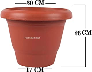 First Smart Plastic Round Pot Set (12-inch, Brown, Pack of 6)
