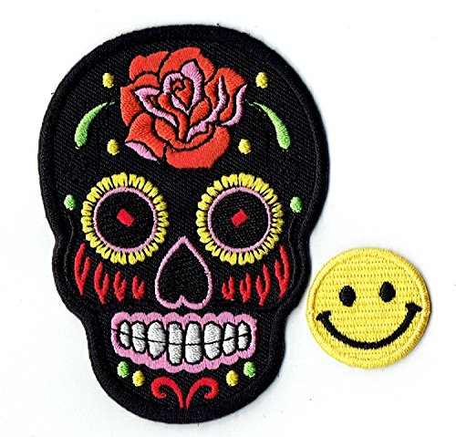 'BLACK ROSE MEXICAN SUGAR SKULL' Applique embroidered iron on PATCHES for cap, jacket, T-Shirt, jeans, backpack with and FREE gift by PATCH CUBE
