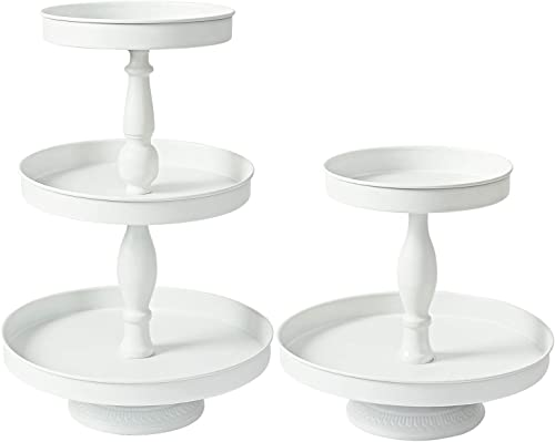 wholesale Donosura Cupcake Stand Set of 2 Cake Tiered Serving Tray White outlet sale Cup Cake online sale Tower Dessert Table Decoration Stands for Wedding Birthday Tea Party online sale