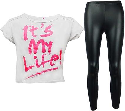 A2Z 4 Kids/® Kinder M/ädchen Its My Life Crop Top /& Schwarz Nasses Aussehen Legging Satz Alter 7 8 9 10 11 12 13 Jahre