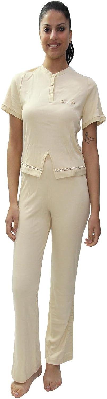 Enrico coveri, pigiama con manica corta e pantalone lungo