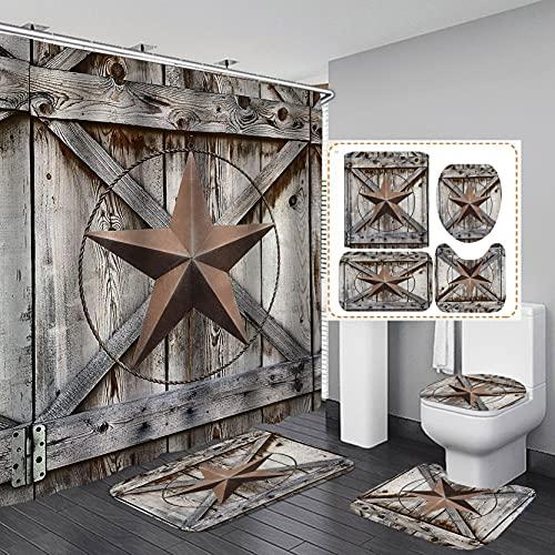 Camille&Andrew 4PCS/Set Western Texas Star Fabric Shower Curtain, Vintage Garage Farmhouse Country Brown Rustic Wooden Plank Barn Door Bathroom Decor, Non-Slip Bathroom Floor Mat Soft Toilet Rug, Star