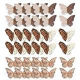 Mitening Pegatinas de pared de Mariposa, 36 Piezas 3D Decoración de Mariposas, Ideal para Sala de Niños, Cocina Nevera Plantas de Jardín Decoraciones de Fiesta - Oro Rose