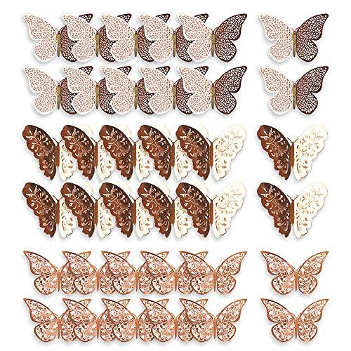 Mitening 36 Stück 3D Schmetterling Aufkleber Deko Wand Wandsticker Wandtattoo Wanddeko DIY Wandkunst Aufkleber für Wohnzimmer Kinderzimmer Türen Fenster Badezimmer Kühlschrank (Roségold)