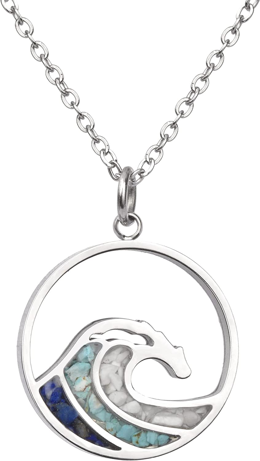 Lauren-Spencer Turquoise Wave Necklace for Women Tumbled Gemstone Chips Pendant Necklace Dainty Ocean Wave Necklaces for Women Girls Surfer Beach Jewelry Gifts