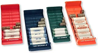 Nadex Rolled Coin Storage Organizer Tray Set with Ridges for Loose Coins | Quarters, Dimes, Nickles, and Penny Color Coded Trays…