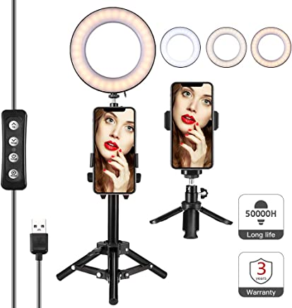 "Selfie LED Ring Light 6"" with tripod Stand & Phone Holder, for Live Stream/Makeup Video or YouTube, Desktop Mini Ring Light for iPhone Android phone with Three Different Shades and Eleven Brightening"