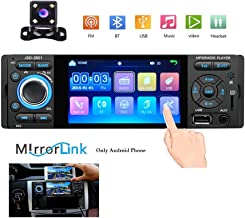 Hikity Single Din Car Radio Stereo 4'' HD Touch Screen MP5 Player Bluetooth FM Radio Support Android Phone Mirror Link with AUX/USB/SD/AUX Input + Backup Camera & Remote Control