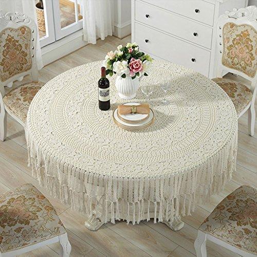 Manteles Crochet Hecho a Mano Ganchillo Vintage (ronda-180cm) (Color : Beige, Tamaño : Round-180cm)