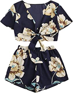 Fitfulvan Women's Leisure Short Sleeve Print Strappy Cami Top with Elastic Pants 2Pcs of Travel Clothing Suit