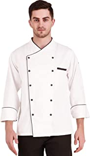 Kodenipr Club Royal Series White Chef Coat Black Piping Contrast, Detachable Button Poly/Cotton, Size (M-38)