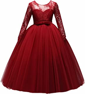 Girls' Tulle Flower Lace Wedding Bridesmaid Dress Long Sleeve Sweetheart Formal Floor Length Evening Gown