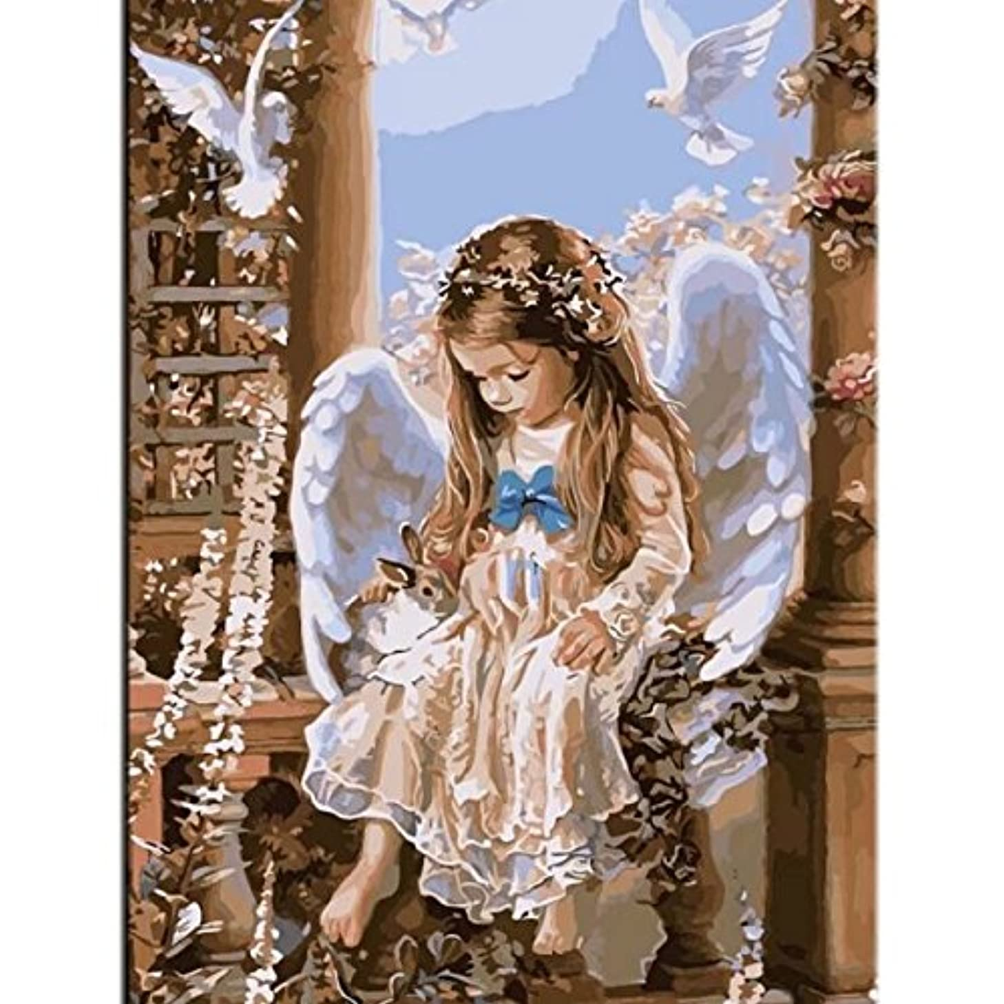 Simple Paintworks Paint by Number Kit for Adults Beginner Children Seniors Junior No Blending No Mixing Linen Canvas Wall Picture Acrylics Painting Home Decor Angel and Rabbit 16x20 Inch Frameless