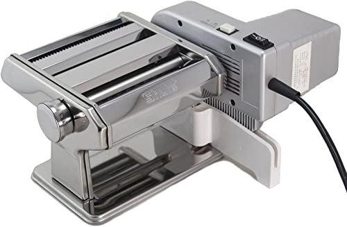 Shule Electric Pasta Maker Machine with Motor Set Stainless Steel Pasta Roller Machine Silver