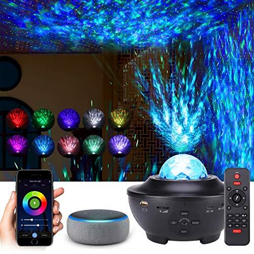 Smart LED Sternenhimmel Projektor mit Bluetooth Lautsprecher, Kompatibel mit Alexa/Google Assistant, Nachtlicht mit Adapter und Fernbedienung für Kinder Erwachsene Zimmer Dekoration