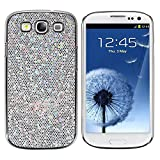 Theo&Cleo White Silver Luxury Chrome Bling Hard Cover Case for Samsung Galaxy III S3 i9300