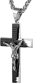 Men's Stainless Steel Cross Crucifix Bible Prayer Pendant Necklace 24