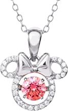 Disney Mickey Mouse or Minnie Mouse Jewelry Sterling Silver Dancing Cubic Zirconia Pendant Necklace (More Colors Available)