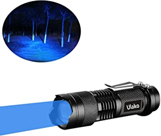 Ulako Single 1 Mode Zoomable LED 150 Yard Blue Light Flashlight Torch For Fishing Hunting Detector