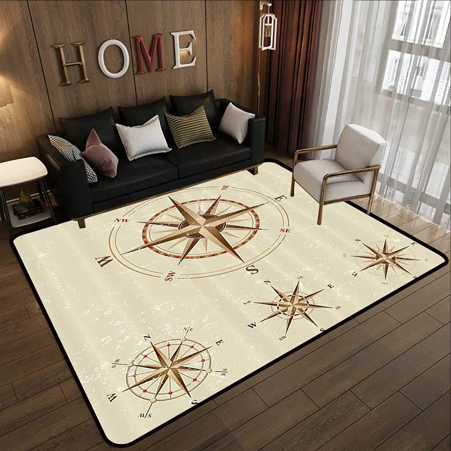 Modern Area Rug with Non-Skid,Compass Decor,Four Different Compasses in Retro colors Discovery Equipment Where Nautical Marine Theme,Beige Tan 47 x 59  Indoor Super Absorbs Doormat